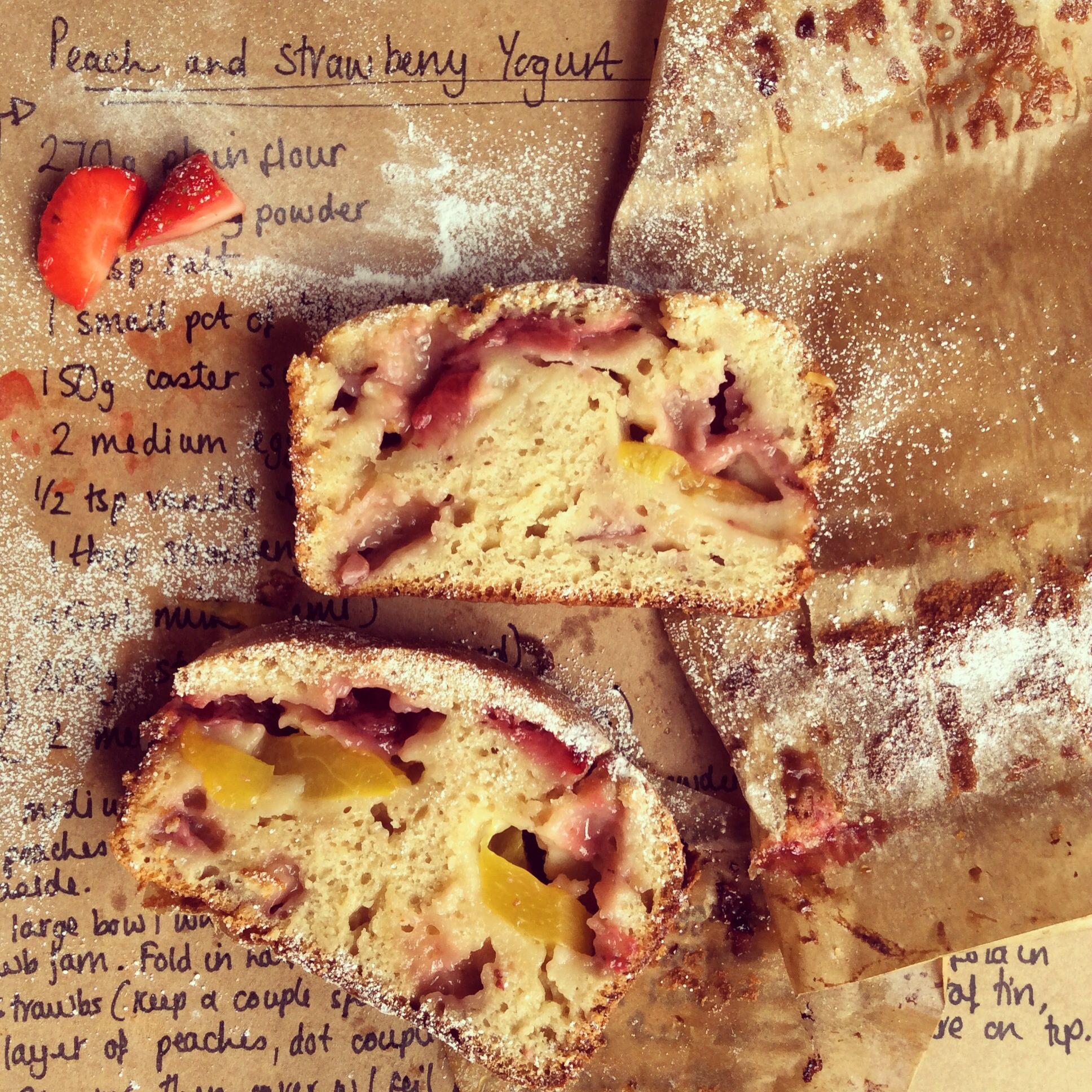 Peach and strawberry yogurt loaf