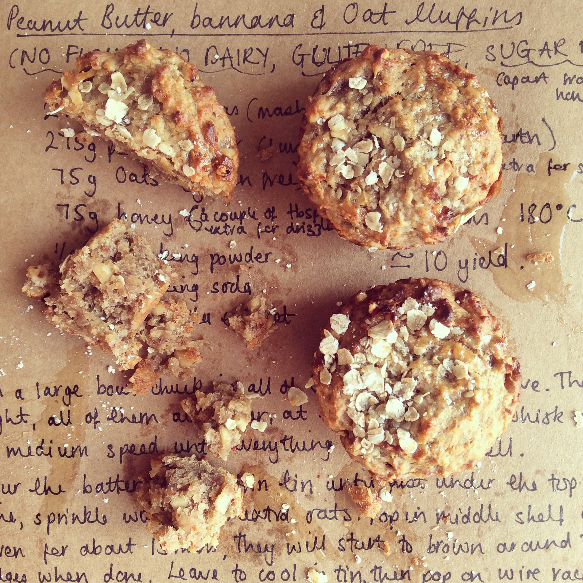 """Healthy Alternative"" Peanut Butter, Banana & Oat Muffins"