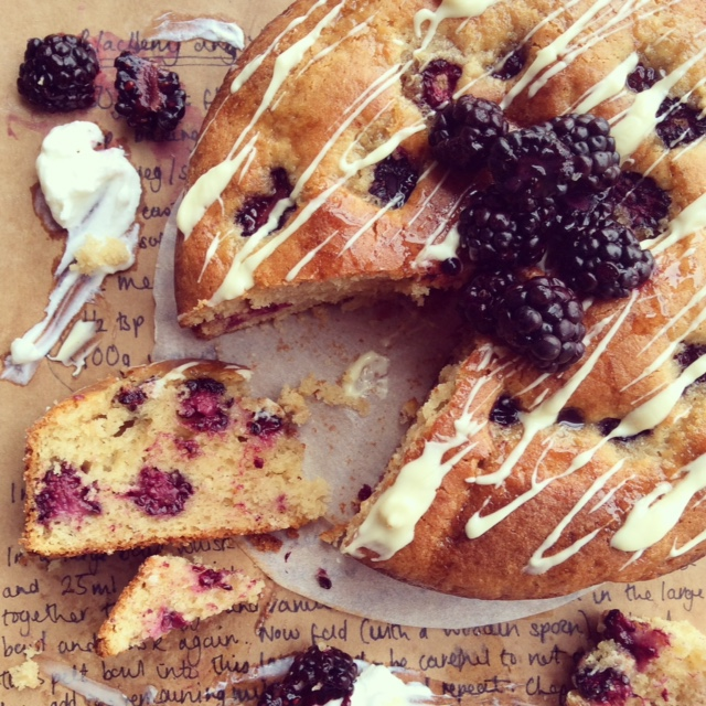 Blackberry & Yogurt Spelt Cake with a White Choc Drizzle
