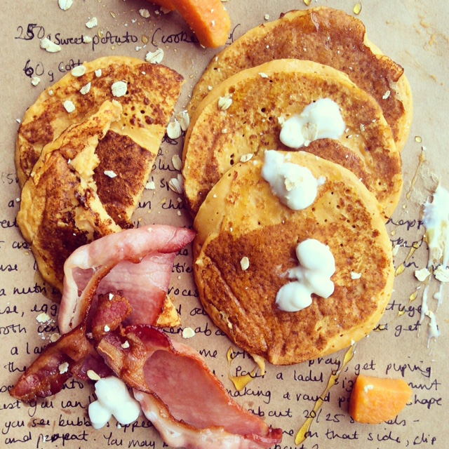 Sweet Potato & Cottage Cheese Pancakes