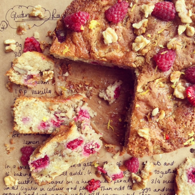 Gluten Free Raspberry and Walnut Cake