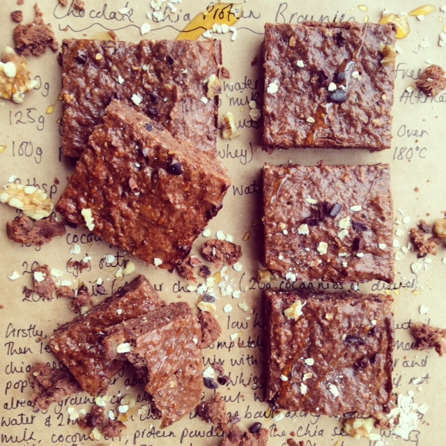 Chocolate Chia Protein Brownies