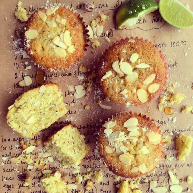 Pistachio, Almond and Lime Muffins