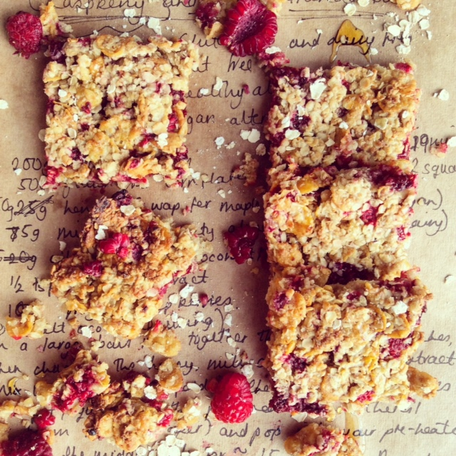 Raspberry and Honey Oat Bars