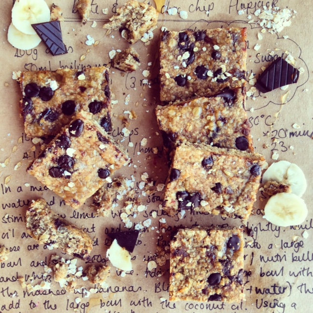 Banana, Date & Dark Chocolate Chip Squares