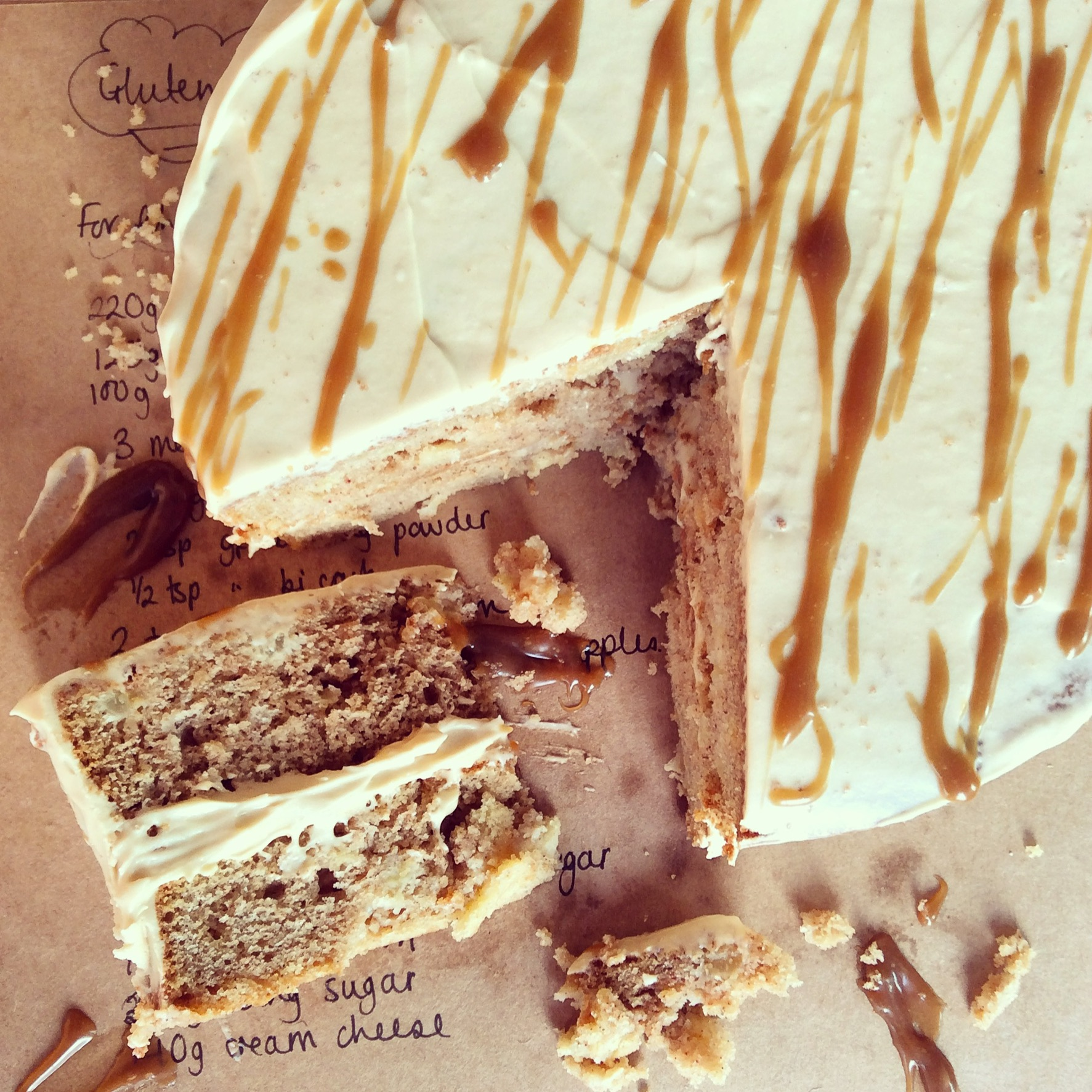 Gluten Free Apple Cake with Toffee Frosting