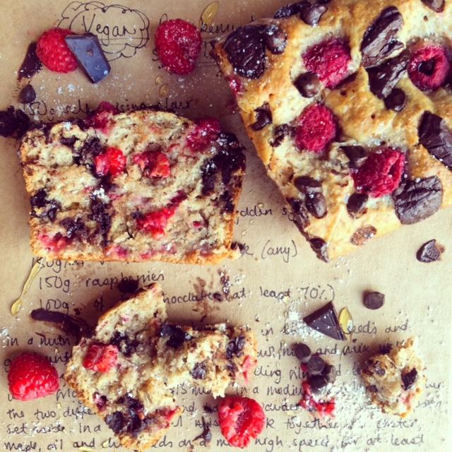 Vegan Raspberry and Dark Chocolate Spelt Loaf