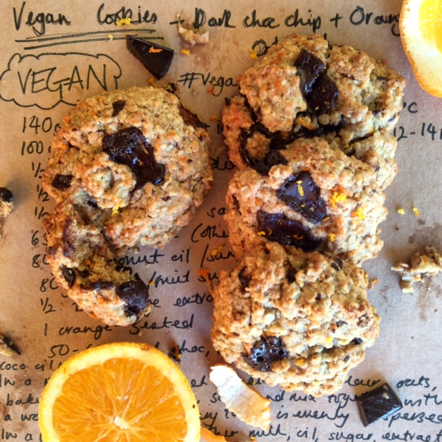 Vegan Dark Chocolate and Orange Oatmeal Cookies