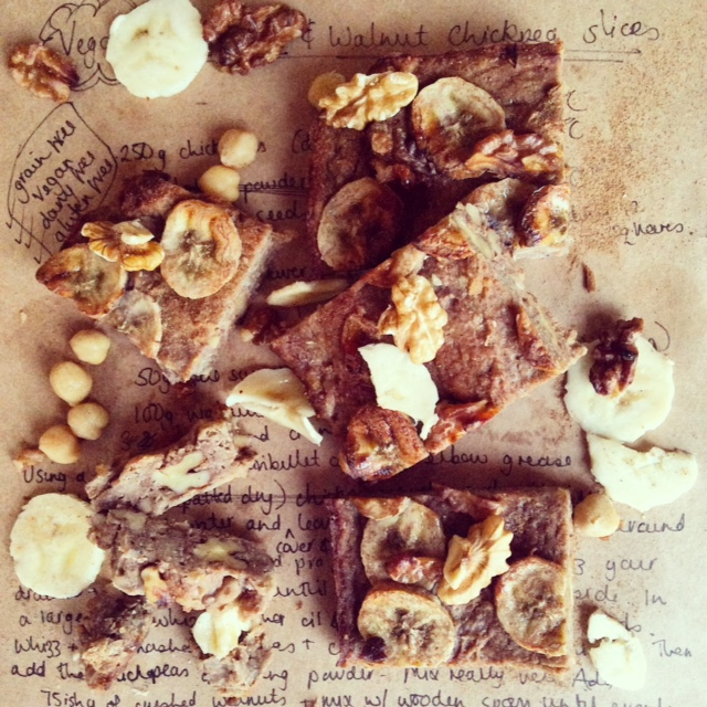 Vegan Banana & Walnut Chickpea Slices