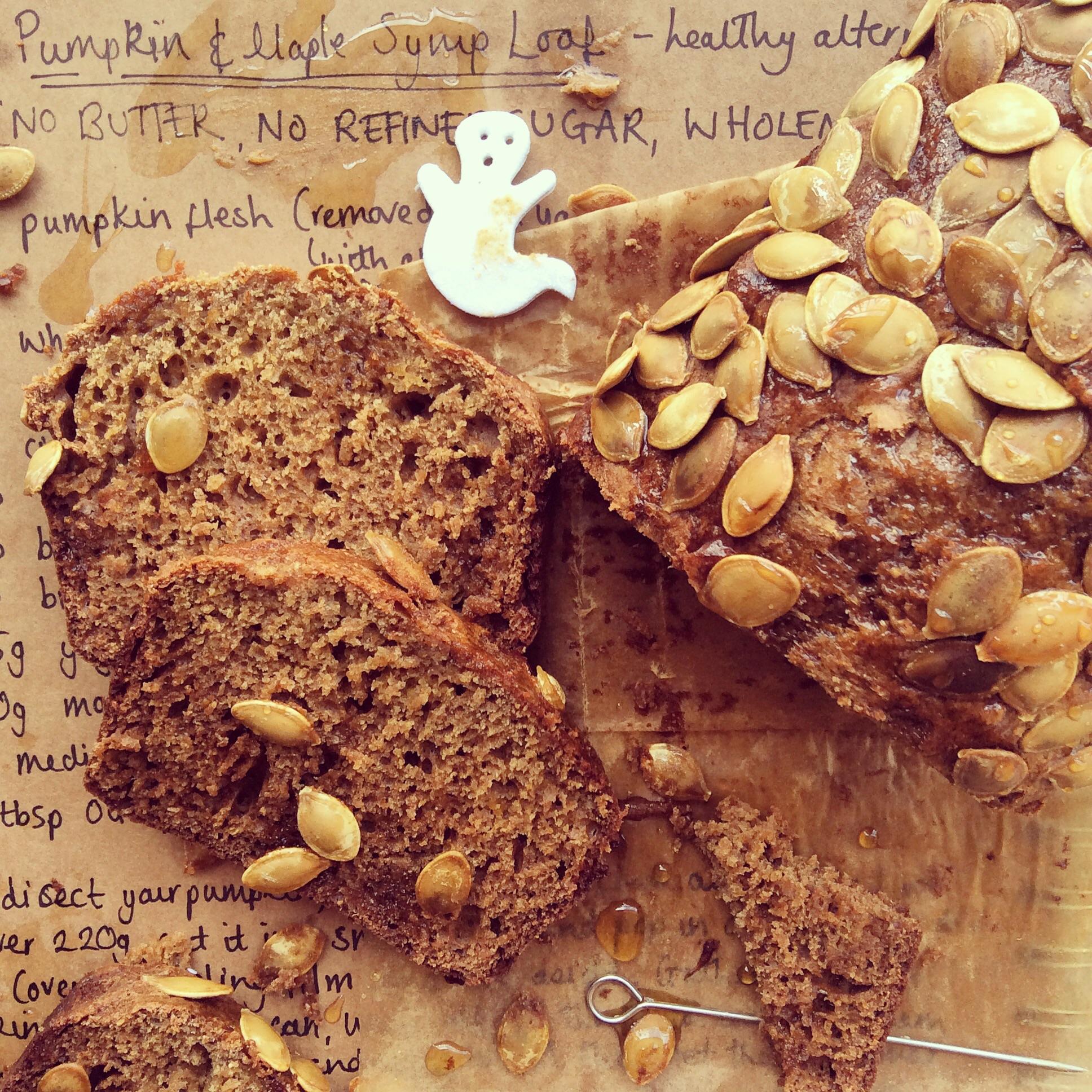 Healthy Halloween Baking - Pumpkin & Maple Syrup Loaf