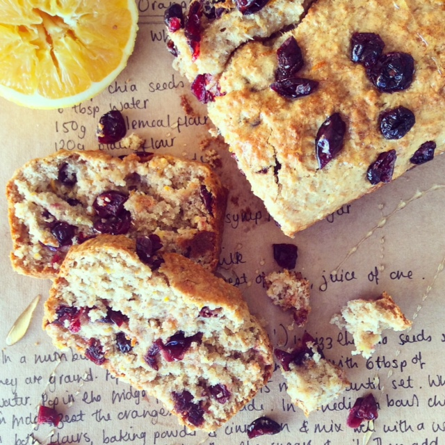 Vegan Orange and Cranberry Loaf